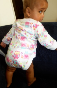 NuNu standing like a big girl! Looking back at mommy's terrified face!