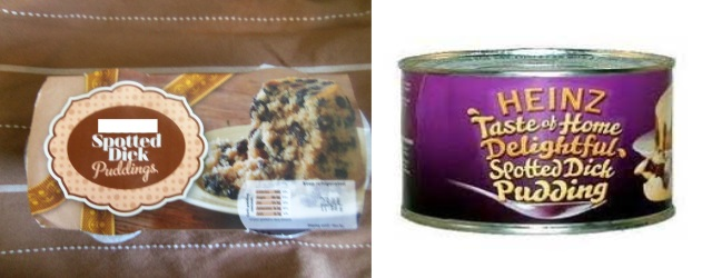 Spotted Dick in plastic cups or tin can