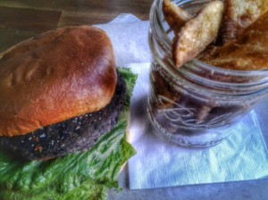 Black Bean Burger with lettuce, tomato, and lime sour cream