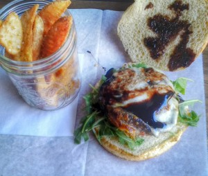 Portobello Caprese Sandwich: herb marinated portobello, milk mozzarella, tomato, basil and balsamic glaze