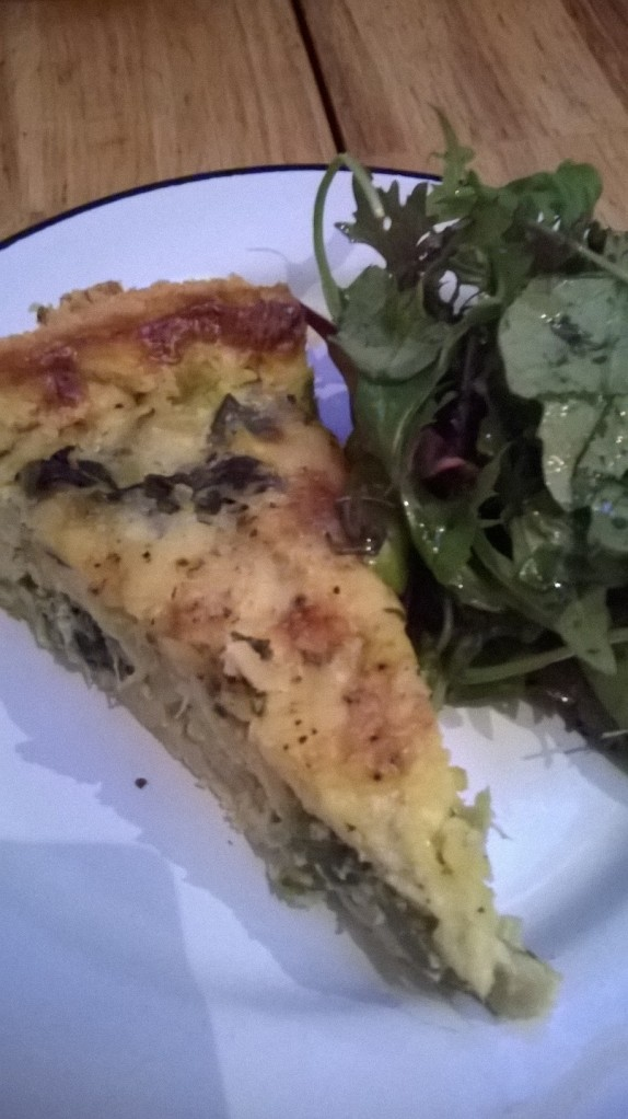 Caerphilly, spinach and nettle tart